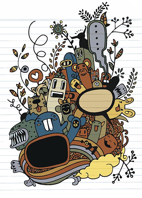绘画插图,乱画,时尚,怪物,奇异的,动物手,仅一朵花,华丽的,美术工艺,纺织品