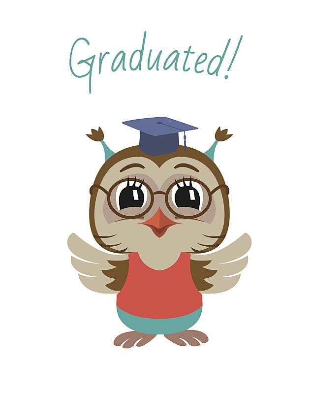 小的,矢量,可爱的,绘画插图,猫头鹰,学位帽,背景分离,女婴,儿童教育,动物