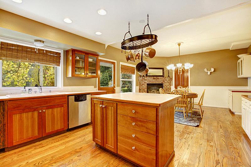 室内,厨房,乡村风格,美国,农舍,水平画幅,无人,巨大的,天花板,家具