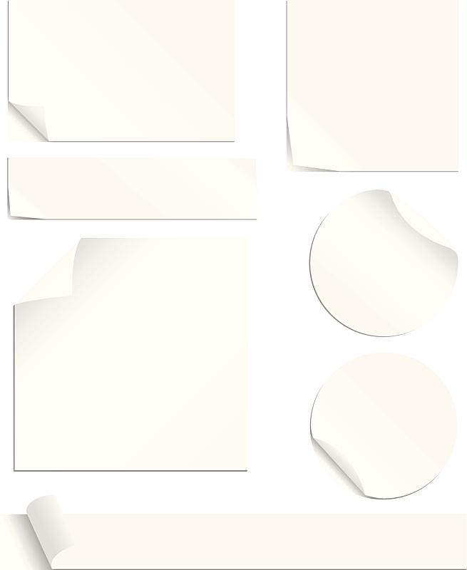 标签,白色,去皮的,角落,便签,折叠的,纸,办公室,留白,办公用品