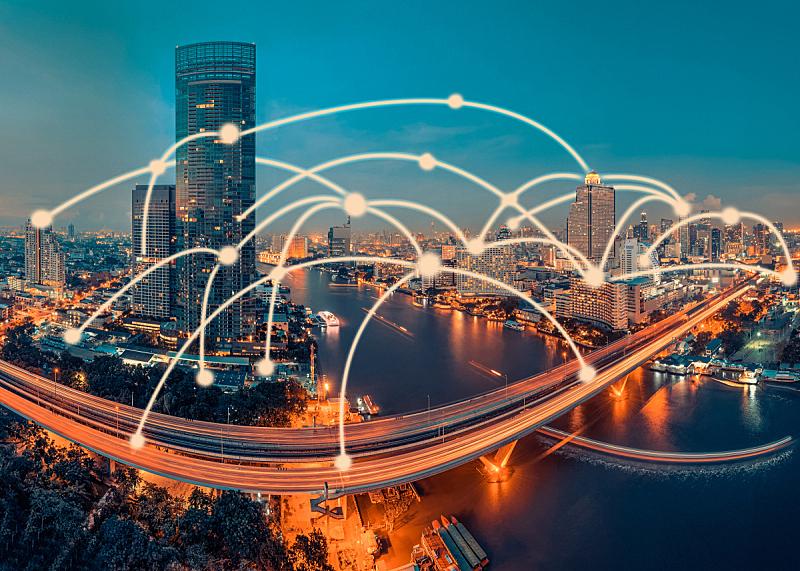 技术,概念,曼谷,都市风景,计算机制图,计算机图形学,全球通讯,地球形,全球商务,现代