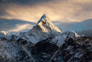 阿马达布朗峰,夜晚,风景,珠穆朗玛峰,山顶,大本营,金星,山,坤布,天空