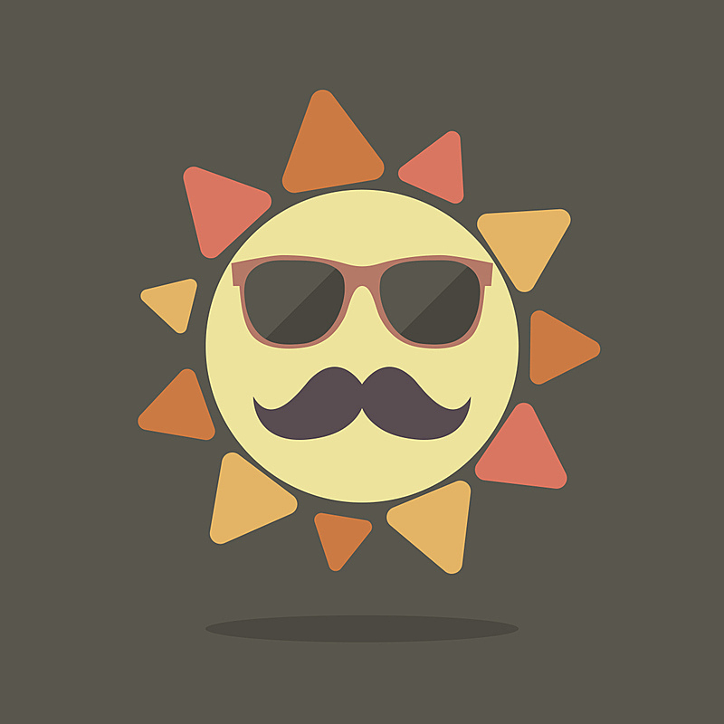 夏天,日光,潮人,角质架眼镜,缓慢的,小胡子,贺卡,温度,绘画插图,符号