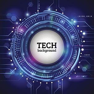 技术,圆形,概念,技术员,抽象,蓝色背景,未来,绘画插图,计算机制图,计算机图形学