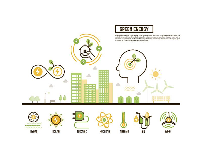 绿色,概念,环境,替代能源,风,太阳能,能源,绘画插图,涡轮
