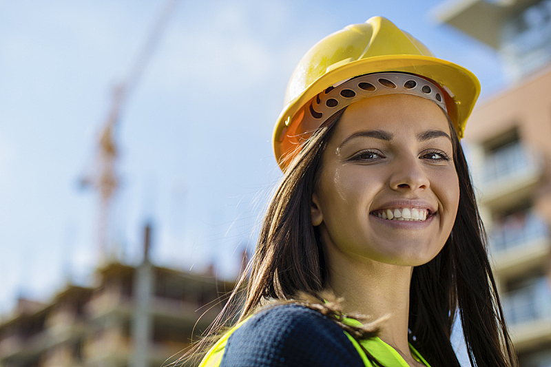 工程师,建筑工地,特写,女性,工程,职业,职业安全与健康,安全帽,质检人员,建筑业