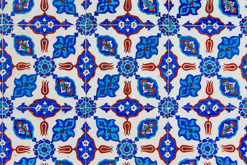 瓦,蓝色,土耳其,艺术,水平画幅,形状,墙,无人,符号,古老的