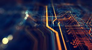 网络服务器,电路板,未来,母板,橙色,有线的,抽象,技术,工程,中央处理器