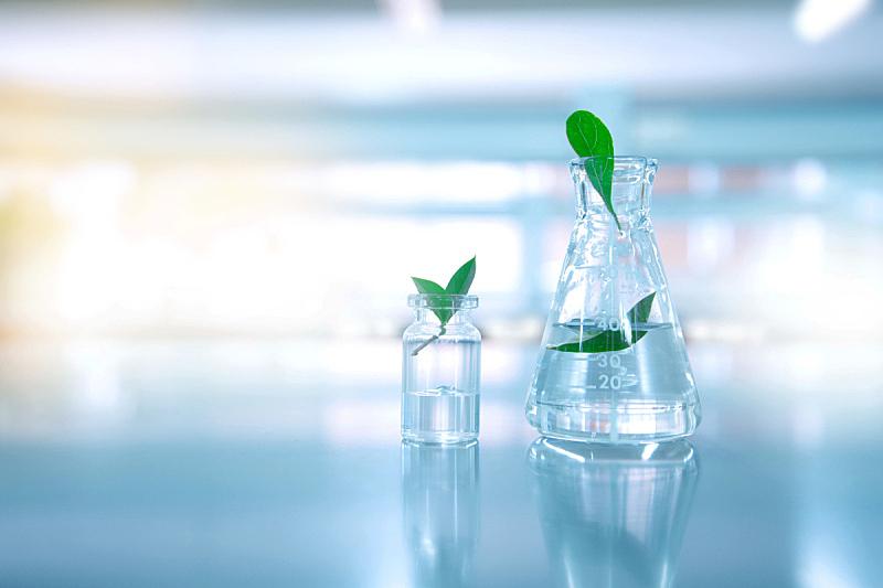 水,生物科技,实验室,小瓶,烧瓶,自然,绿色,透明,背景,离开
