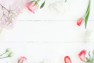 郁金香,边框,玫瑰,木制,白色背景,奥修符号,留白,高视角,纺织品,夏天