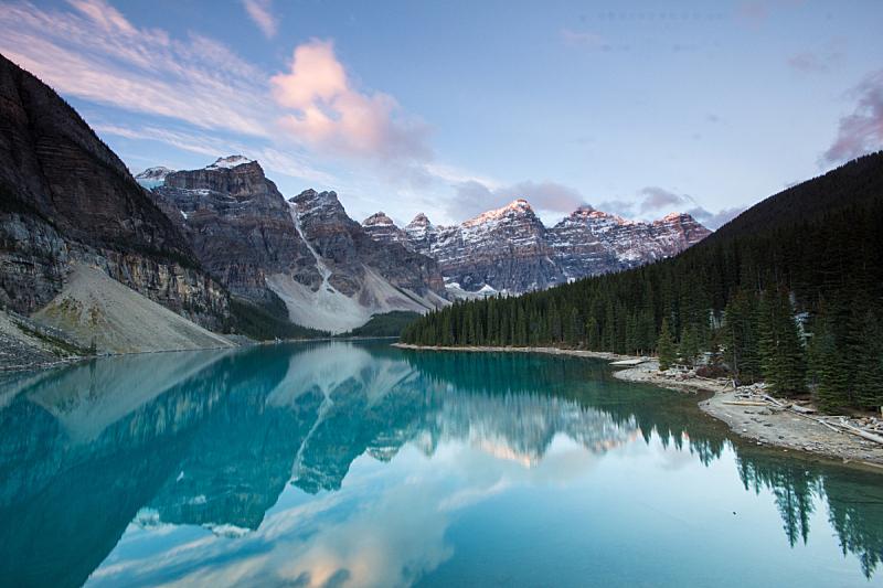 梦莲湖,黎明,十峰谷,自然,水平画幅,阿尔伯塔省,无人,班夫国家公园,户外,湖