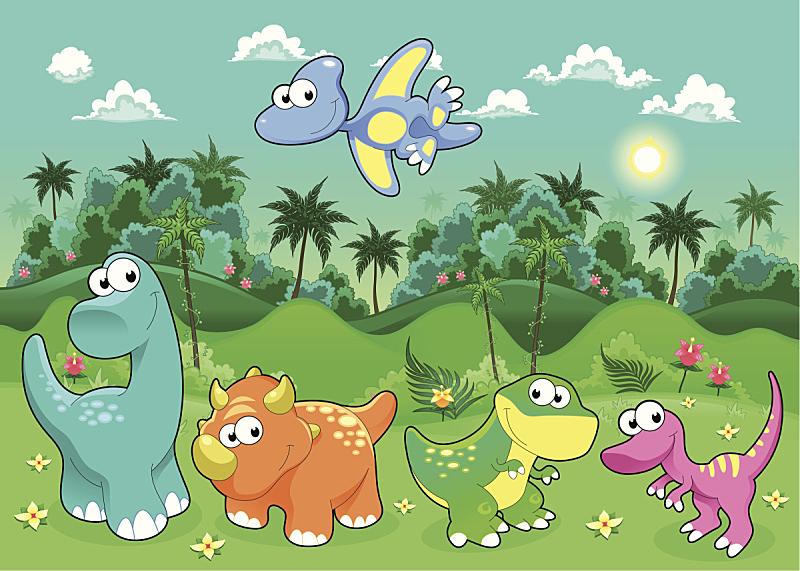 恐龙,乐趣,森林,山,拟人笑脸,绘画插图,性格,热带雨林,户外,卡通