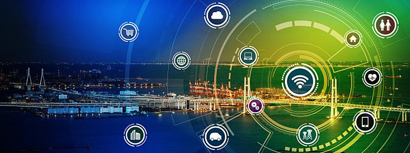 无线技术,计算机网络,全景,物联网,长方形,图像,智慧城市,概念,沟通