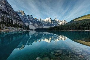 冰碛,倒影湖,阿尔伯塔省,洛矶山脉,加拿大,山脉,湖,梦莲湖,山,地形