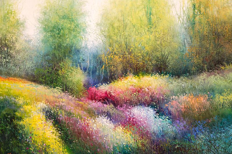 画布,草地,石油工业,春天,多色的,绘画插图,夏天,亲昵,想法