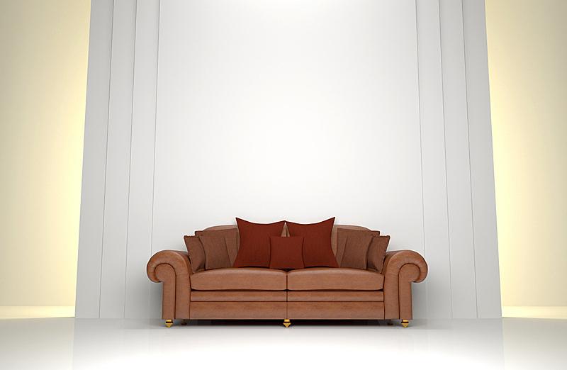 皮革,沙发,褐色,水平画幅,形状,现代,白色,三维图形,设计师