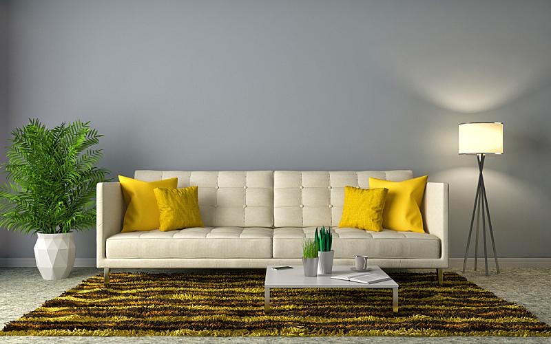 沙发,室内,绘画插图,三维图形,白色,住宅房间,褐色,水平画幅,无人,装饰物