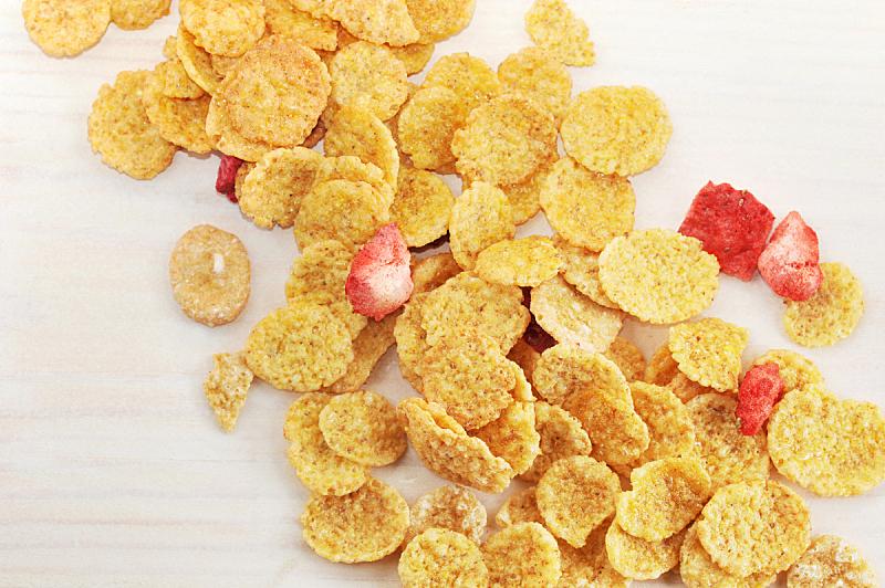 玉米片,草莓,切片食物,背景,美,水平画幅,无人,膳食,早晨,特写