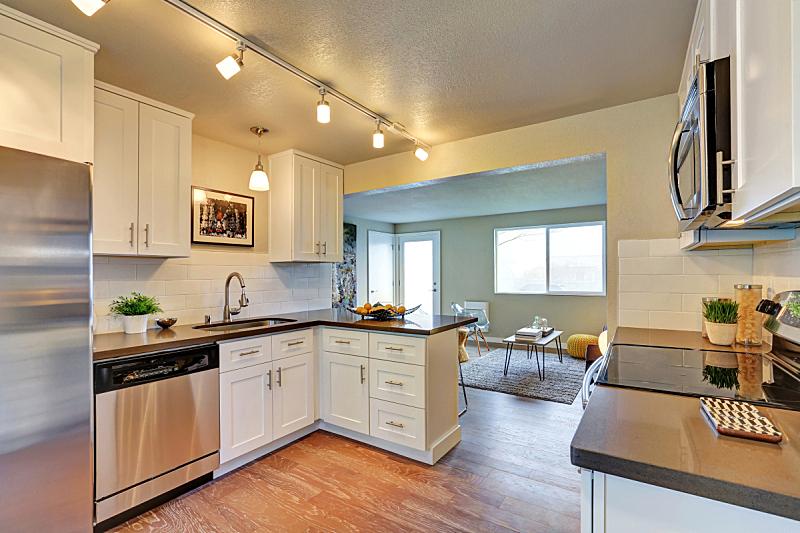 住宅房间,厨房,清新,白色,冰箱,窗户,水平画幅,吧椅,建筑,无人