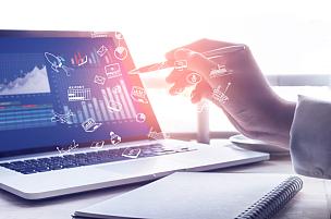 策略,笔记本电脑,男商人,现代,概念,图标,经理,商务策略,数据