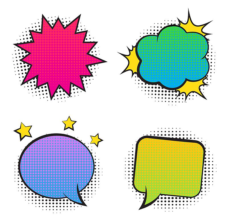 阴影,漫画书,空的,泡泡,多色的,40-80年代风格复兴,舞台,山,化学元素周期表,点染