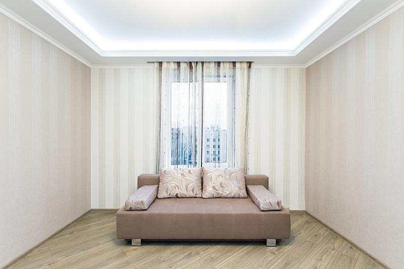 沙发,住宅房间,室内,宽的,巨大的,褐色,水平画幅,无人,家具,现代