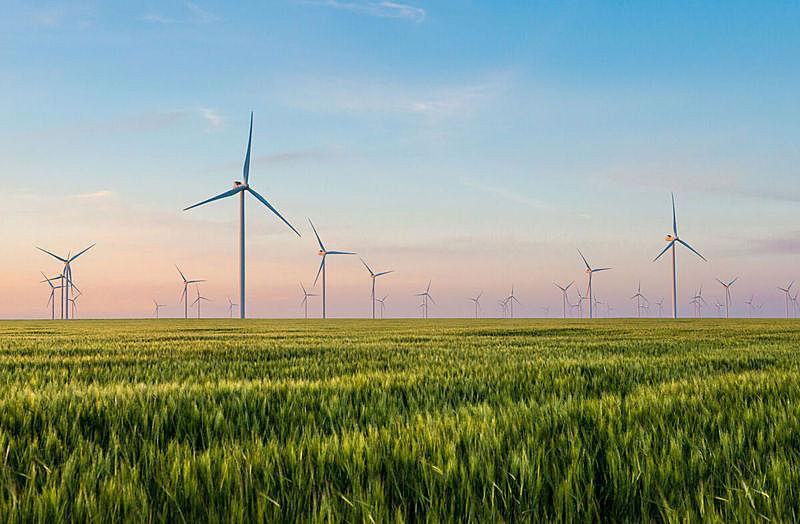风轮机,小麦,工业,绿色,田地,电,组物体,风车,替代能源,变电所