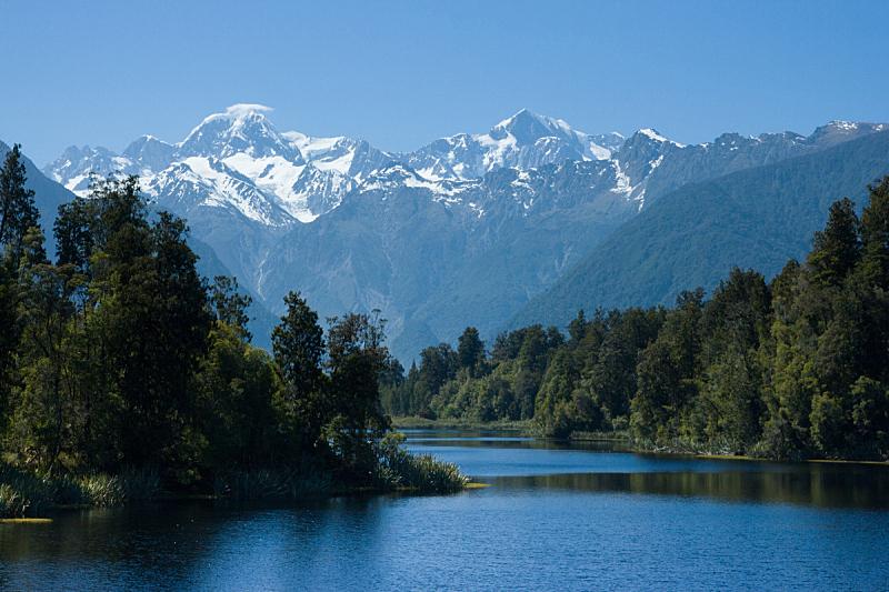 马瑟森湖,库克山,南韦斯特兰,水,天空,美,水平画幅,雪,早晨,户外