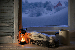 静物,冬天,舒服,窗台,百叶窗,气候与心情,灯笼,窗户,雪堆,百叶帘