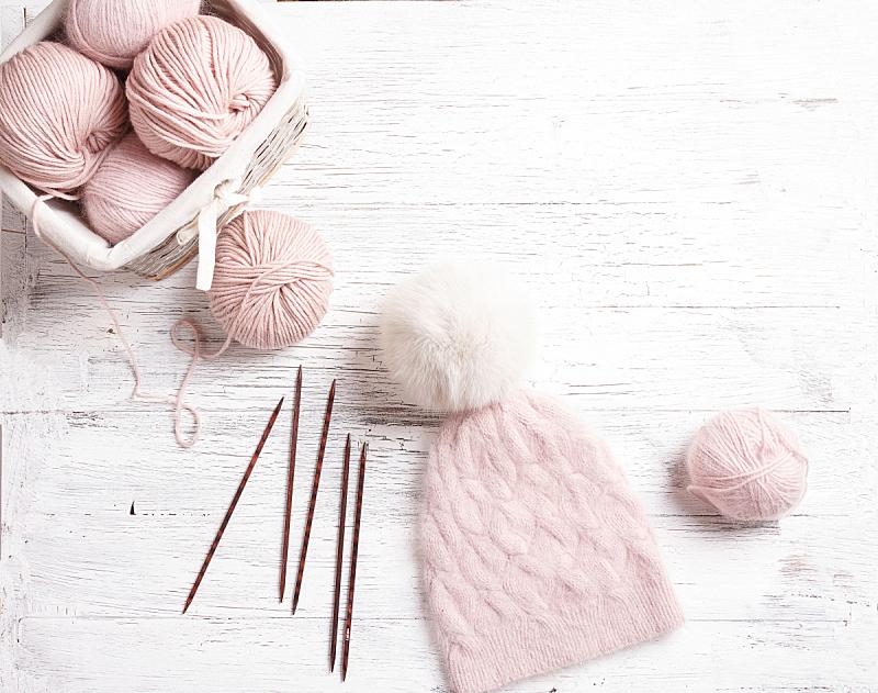 毛皮,手艺,木制,帽子,羊毛,手摇花,粉色,桌子,球,钩针编织品