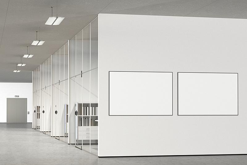 办公室,现代,空白的,海报,正面视角,留白,边框,艺术,水平画幅,墙