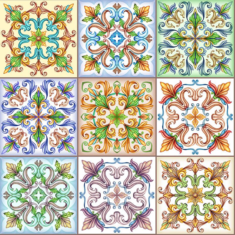 镶嵌图案,瓷砖,绘画插图,背景,拼缝物,式样,抽象,万花筒,中世纪时代,复古