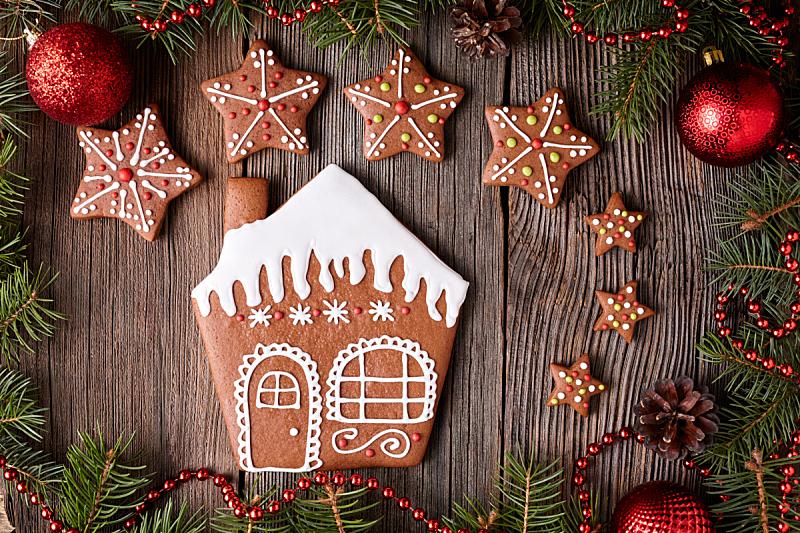 饼干,星形,姜饼屋,新年,新的,雪,配方,乡村风格,生姜
