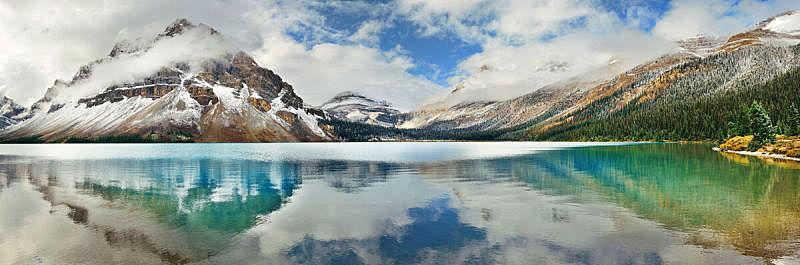 弓湖,加拿大落基山脉,幽鹤国家公园,弓河,洛矶山脉,国家公园,水平画幅,雪,阿尔伯塔省,无人
