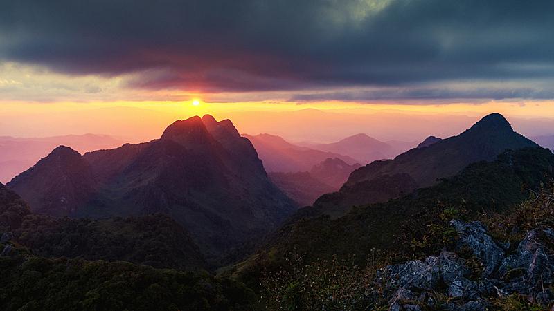 户外,山,自然,地形,泰国,天空,美,水平画幅,无人,早晨