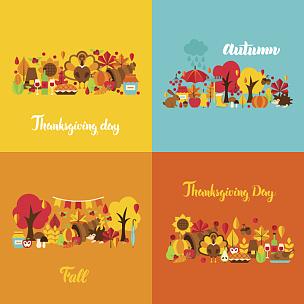 秋天,概念,丰收的羊角,火鸡肉,栗树,火鸡,花楸浆果,动物家庭,橡树果,向日葵