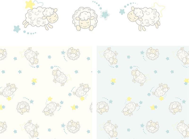 绵羊,梦想,式样,可爱的,绘画插图,四方连续纹样,卡通,幼小动物,羊羔,毛绒绒