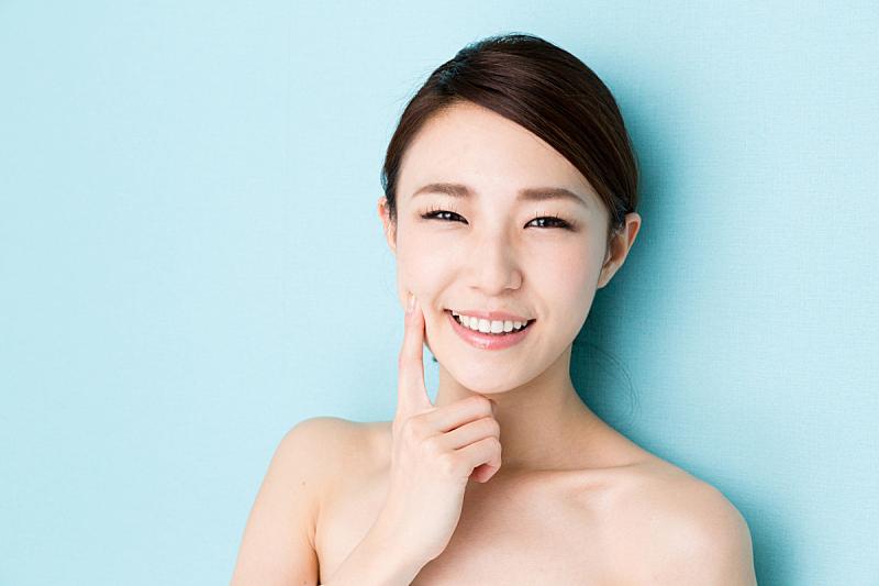 美,女人,美女,蓝色背景,分离着色,图像,柚木树,牙齿美白,脸颊,留白
