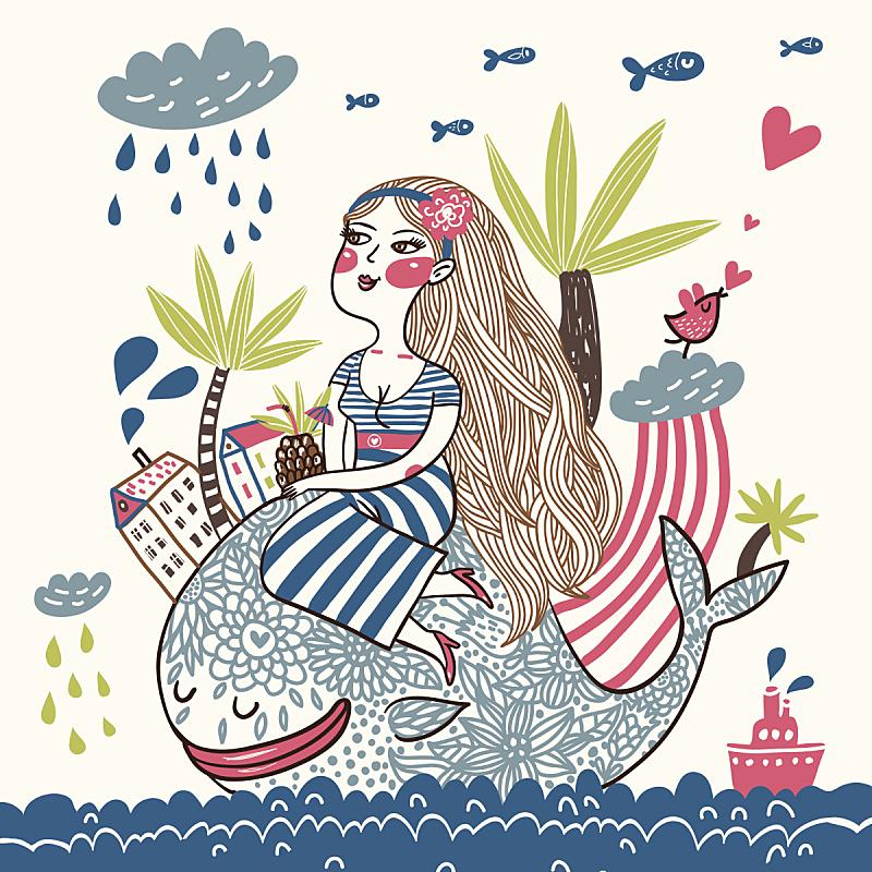 海洋,幻想,客船,绘画插图,夏天,户外,卡通,图像,棕榈树,雨