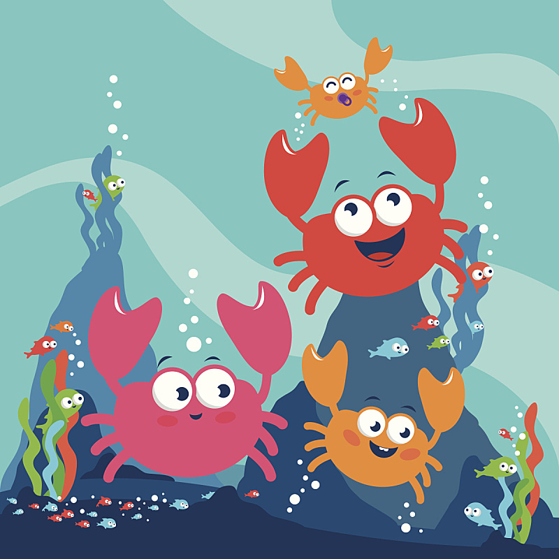 海洋,鱼类,螃蟹,水,绘画插图,水下,性格,夏天,卡通,海草