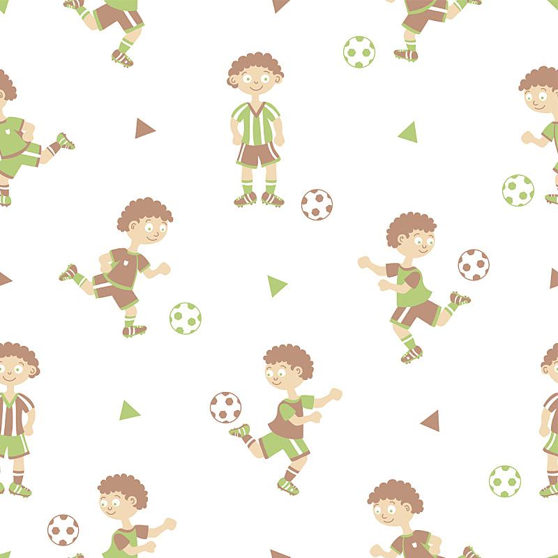 柔和色,足球运动员,四方连续纹样,守门员,进球,足球服,球,绘画插图,褐色,进行中