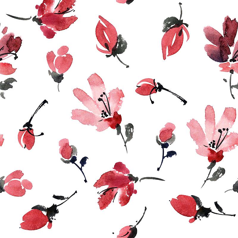 红色,式样,仅一朵花,亚洲樱桃树,树苗,水墨画,植物茎,四方连续纹样,自制的,墨水