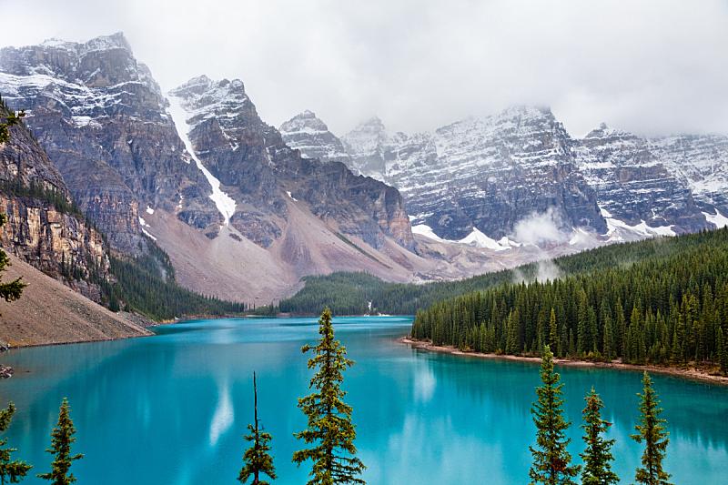 梦莲湖,班夫国家公园,自然,天空,水平画幅,地形,阿尔伯塔省,无人,蓝色,户外