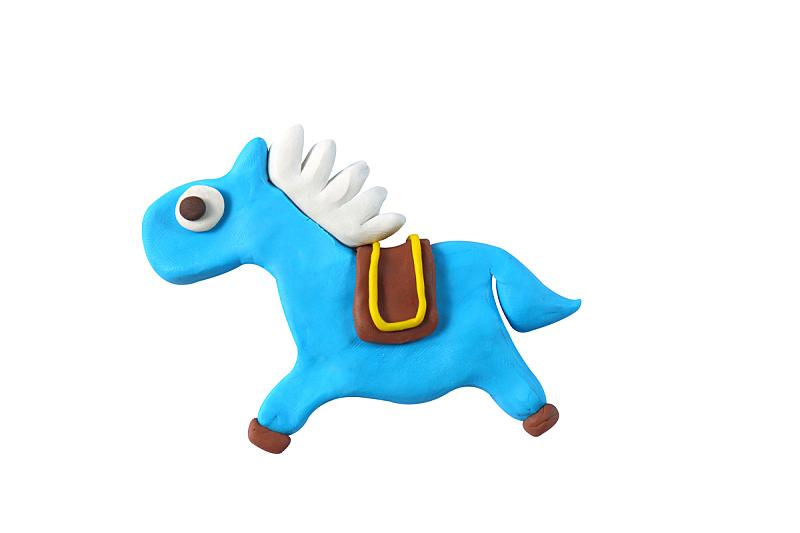 微型马,儿童游戏陶土,模型,艺术模特,人造的,艺术,水平画幅,小的,手艺,白色背景