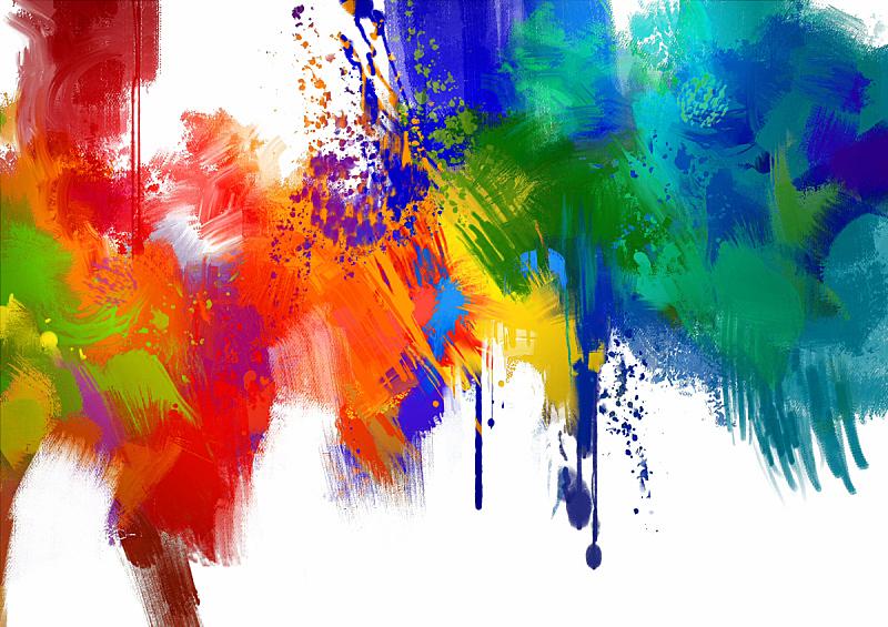 涂料,色彩鲜艳,抽象,白色背景,笔触,画布,丙稀画,彩色图片,多色的
