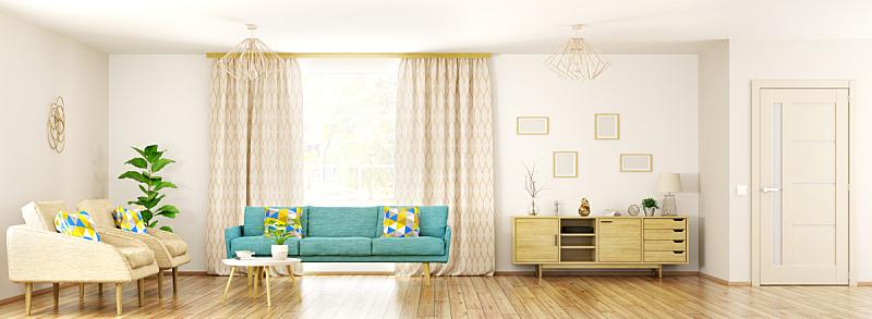 现代,三维图形,全景,室内,起居室,座位,水平画幅,无人,椅子,绘画插图