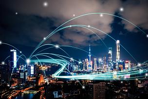 技术,城市,计算机网络,上海,天空,未来,高视角,能源,夜晚,全球通讯