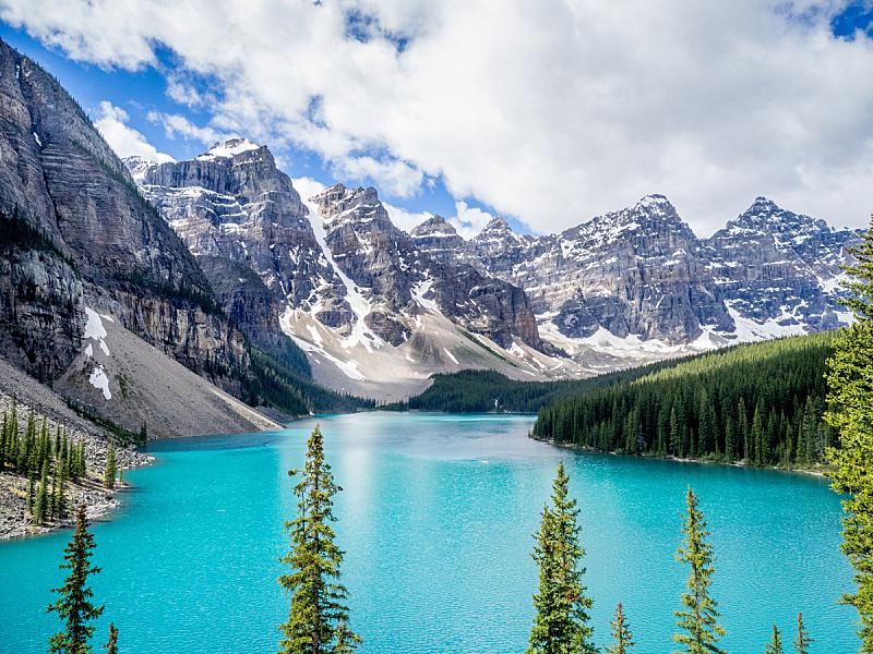 梦莲湖,水,天空,美,公园,水平画幅,高视角,山,雪,阿尔伯塔省