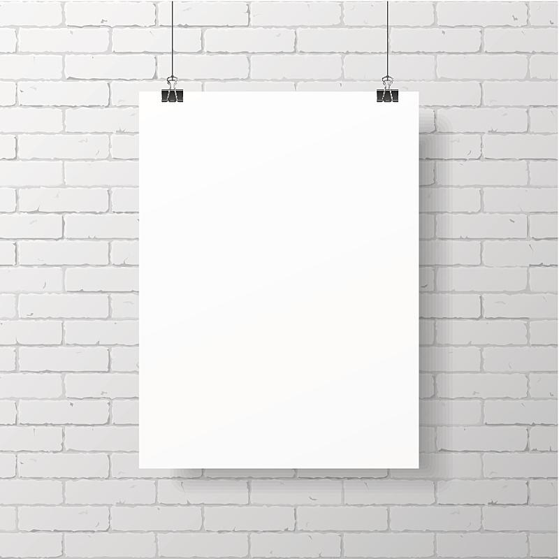 砖墙,空白的,白色,装订夹,悬挂的,建筑结构,砖,墙,背景