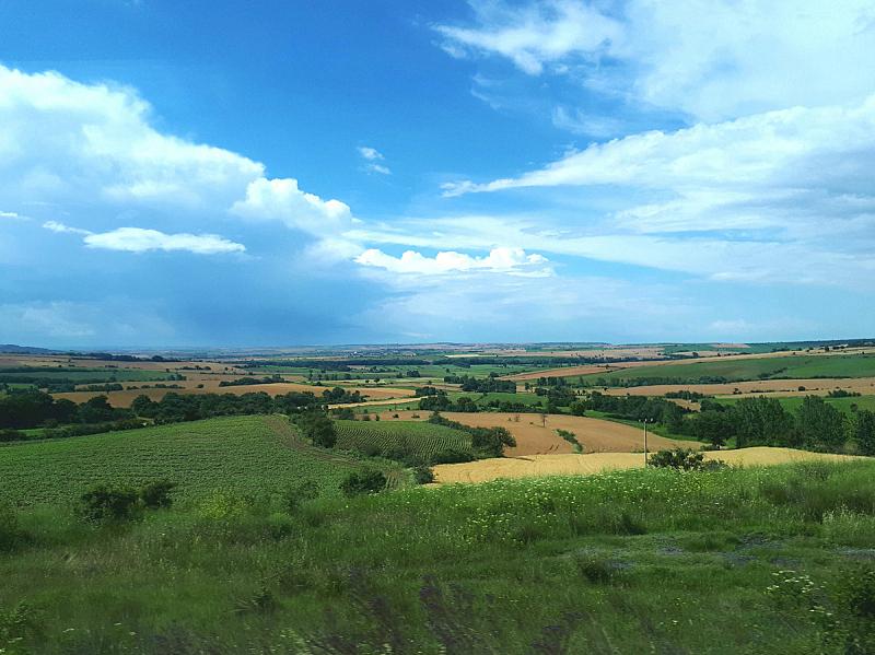 天空,田地,绿色,蓝色,自然美,农场,仙女,水平画幅,无人,夏天